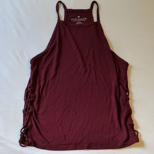 AEO side tie tank in maroon size small